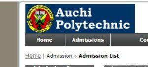 Auchi Polytechnic Admission List